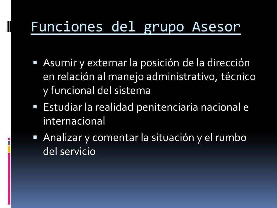 Funciones del grupo Asesor Asumir y externar la posición de la dirección en relación al manejo administrativo, técnico y funcional del sistema Estudia