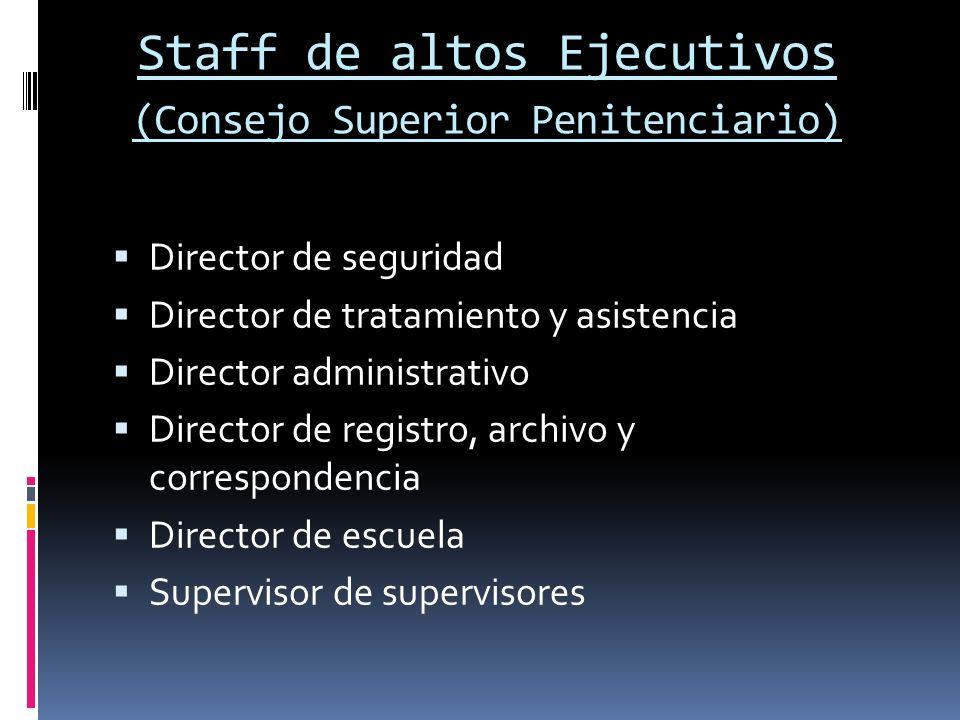 Staff de altos Ejecutivos (Consejo Superior Penitenciario) Director de seguridad Director de tratamiento y asistencia Director administrativo Director