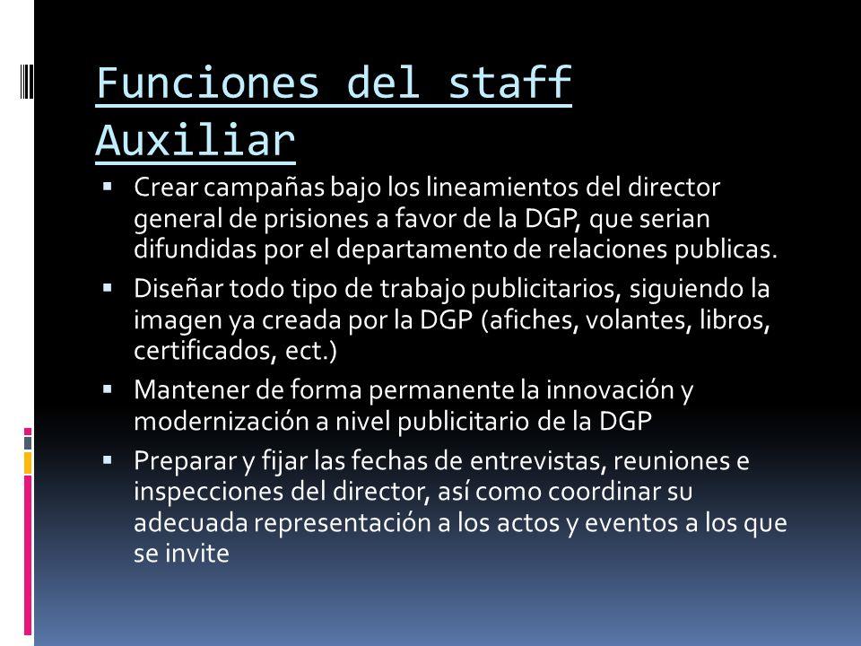Funciones del staff Auxiliar Crear campañas bajo los lineamientos del director general de prisiones a favor de la DGP, que serian difundidas por el de
