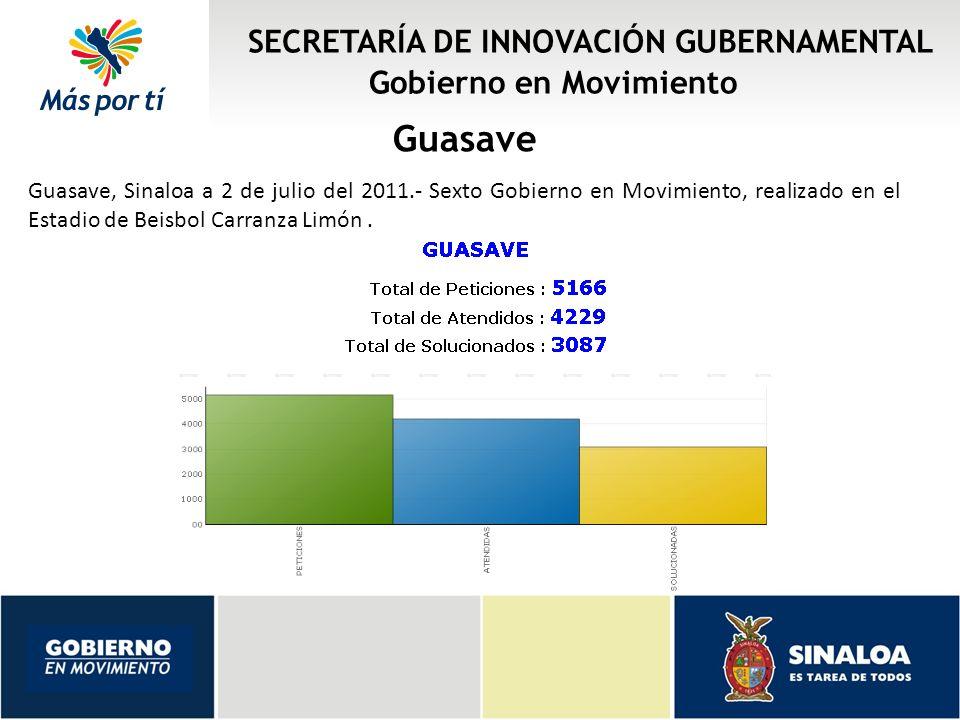 SECRETARÍA DE INNOVACIÓN GUBERNAMENTAL Gobierno en Movimiento Guasave Guasave, Sinaloa a 2 de julio del 2011.- Sexto Gobierno en Movimiento, realizado