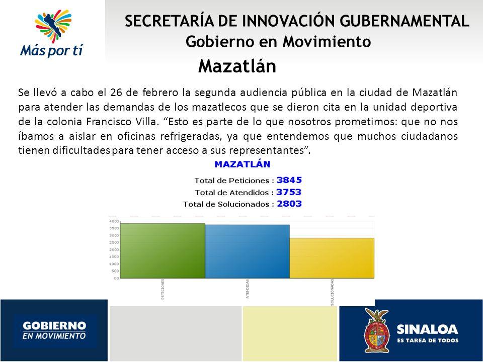 SECRETARÍA DE INNOVACIÓN GUBERNAMENTAL Gobierno en Movimiento Mazatlán Se llevó a cabo el 26 de febrero la segunda audiencia pública en la ciudad de M