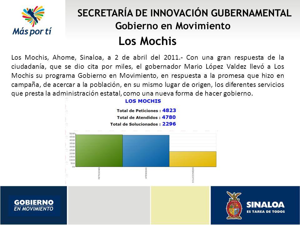 SECRETARÍA DE INNOVACIÓN GUBERNAMENTAL Gobierno en Movimiento Los Mochis Los Mochis, Ahome, Sinaloa, a 2 de abril del 2011.- Con una gran respuesta de