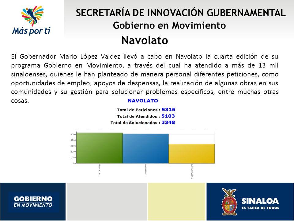 SECRETARÍA DE INNOVACIÓN GUBERNAMENTAL Gobierno en Movimiento Navolato El Gobernador Mario López Valdez llevó a cabo en Navolato la cuarta edición de