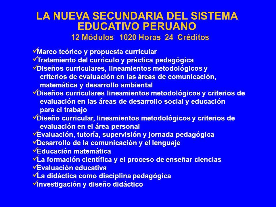 Marco teórico y propuesta curricular Tratamiento del currículo y práctica pedagógica Diseños curriculares, lineamientos metodológicos y criterios de e