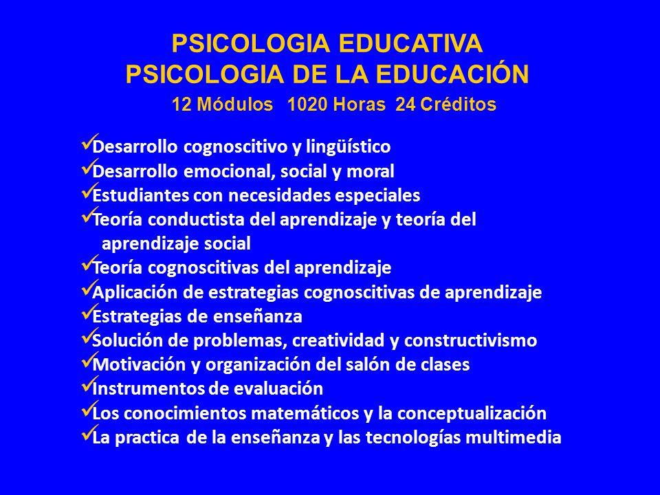 Desarrollo cognoscitivo y lingüístico Desarrollo emocional, social y moral Estudiantes con necesidades especiales Teoría conductista del aprendizaje y