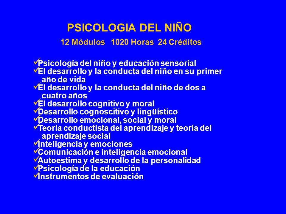 Psicología del niño y educación sensorial El desarrollo y la conducta del niño en su primer año de vida El desarrollo y la conducta del niño de dos a