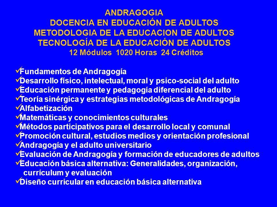 Fundamentos de Andragogía Desarrollo físico, intelectual, moral y psico-social del adulto Educación permanente y pedagogía diferencial del adulto Teor