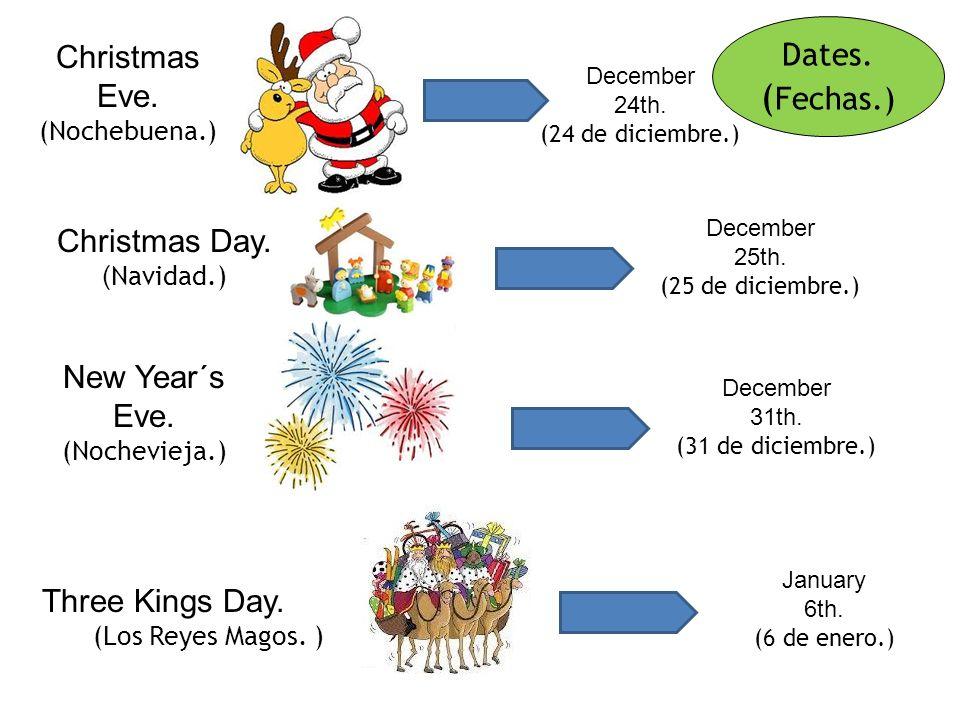 Festivities. ( Festividades.) We celebrate many festivities together. (Celebramos muchas fiestas juntos.) Three Kings Day. (Los Reyes Magos. ) Christm