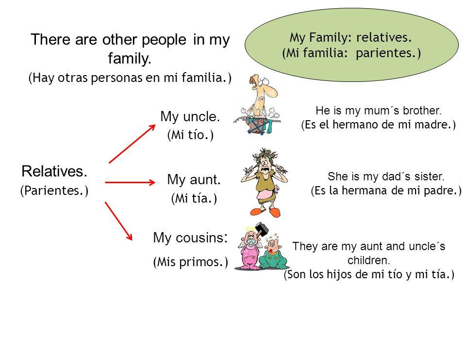 More families. (Más familias.) My brothers. (Mis hermanos.) My dad. (Mi papá.) and me. ( y yo. ) My mum. (Mi mamá.) My granma. (Mi abuela.) My sister.