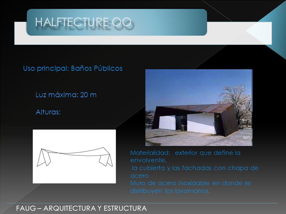Uso principal: Baños Públicos Luz máxima: 20 m Alturas: Materialidad: exterior que define la envolvente, la cubierta y las fachadas con chapa de acero