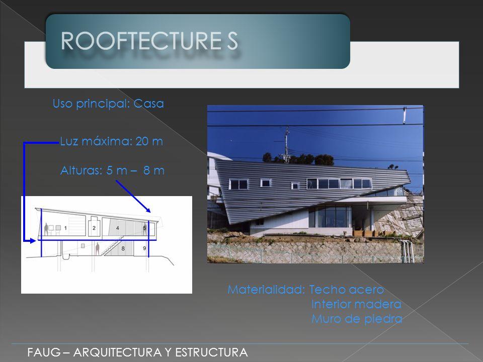 FAUG – ARQUITECTURA Y ESTRUCTURA Luz máxima: 20 m Alturas: 5 m – 8 m Uso principal: Casa Materialidad: Techo acero Interior madera Muro de piedra