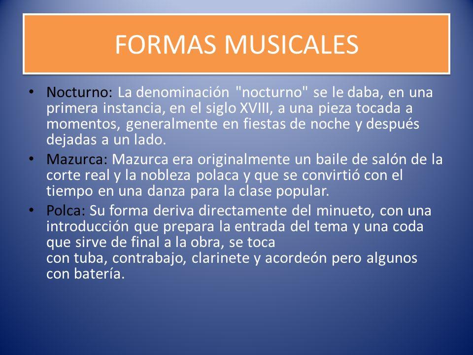 FORMAS MUSICALES Nocturno: La denominación