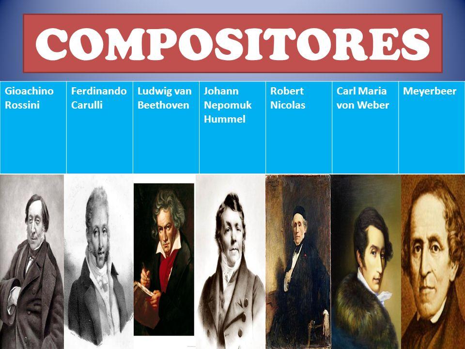 COMPOSITORES Gioachino Rossini Ferdinando Carulli Ludwig van Beethoven Johann Nepomuk Hummel Robert Nicolas Carl Maria von Weber Meyerbeer