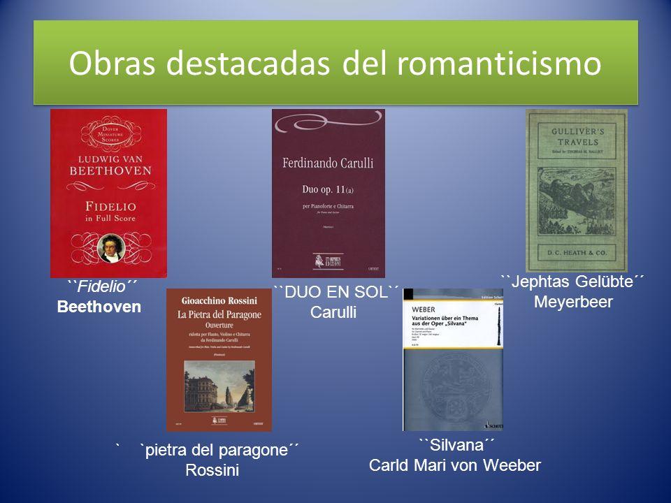 Obras destacadas del romanticismo ``DUO EN SOL`´ Carulli ``Fidelio´´ Beethoven ``Jephtas Gelübte´´ Meyerbeer ` `pietra del paragone´´ Rossini ``Silvan