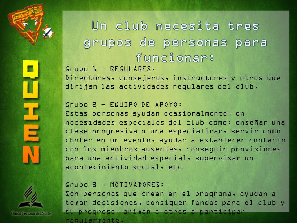 Grupo 1 - REGULARES: Directores, consejeros, instructores y otros que dirijan las actividades regulares del club. Grupo 2 - EQUIPO DE APOYO: Estas per