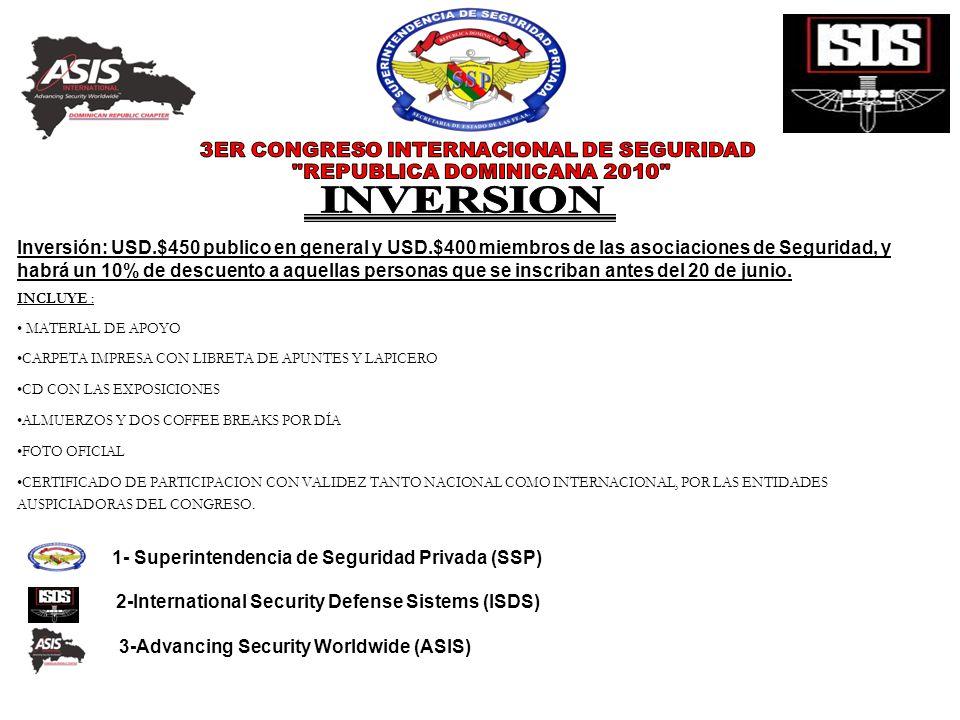 Inversión: USD.$450 publico en general y USD.$400 miembros de las asociaciones de Seguridad, y habrá un 10% de descuento a aquellas personas que se in