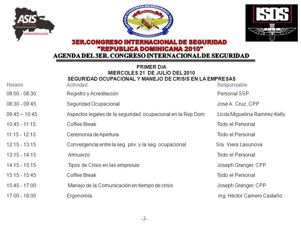-3- PRIMER DIA MIERCOLES 21 DE JULIO DEL 2010 SEGURIDAD OCUPACIONAL Y MANEJO DE CRISIS EN LA EMPRESAS Horario Actividad Responsable 08:00 - 08:30 Regi