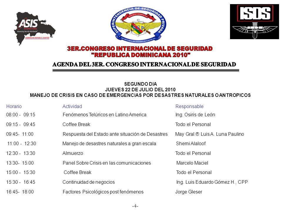 -4- SEGUNDO DIA JUEVES 22 DE JULIO DEL 2010 MANEJO DE CRISIS EN CASO DE EMERGENCIAS POR DESASTRES NATURALES O ANTROPICOS Horario Actividad Responsable