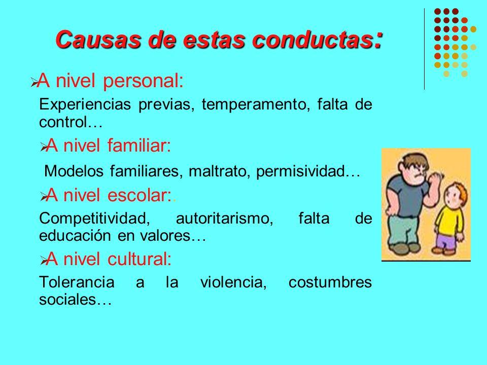 Causas de estas conductas : A nivel personal: Experiencias previas, temperamento, falta de control… A nivel familiar: Modelos familiares, maltrato, pe