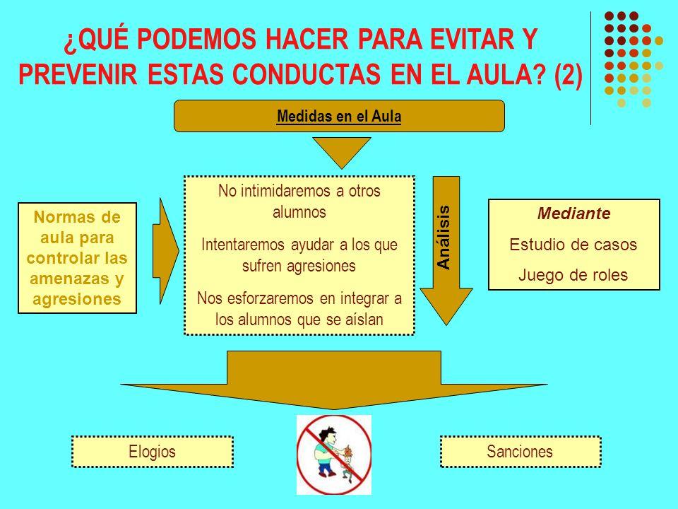 ¿QUÉ PODEMOS HACER PARA EVITAR Y PREVENIR ESTAS CONDUCTAS EN EL AULA? (2) Medidas en el Aula No intimidaremos a otros alumnos Intentaremos ayudar a lo