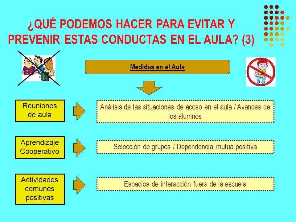 ¿QUÉ PODEMOS HACER PARA EVITAR Y PREVENIR ESTAS CONDUCTAS EN EL AULA? (3) Reuniones de aula Análisis de las situaciones de acoso en el aula / Avances