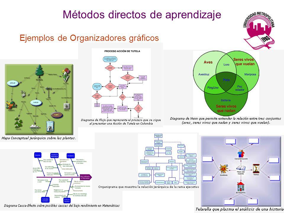 Métodos directos de aprendizaje Ejemplos de Organizadores gráficos