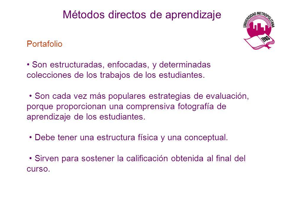 Métodos directos de aprendizaje Portafolio Son estructuradas, enfocadas, y determinadas colecciones de los trabajos de los estudiantes. Son cada vez m