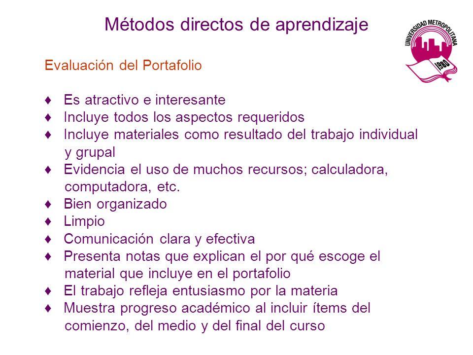 Métodos directos de aprendizaje Evaluación del Portafolio Es atractivo e interesante Incluye todos los aspectos requeridos Incluye materiales como resultado del trabajo individual y grupal Evidencia el uso de muchos recursos; calculadora, computadora, etc.