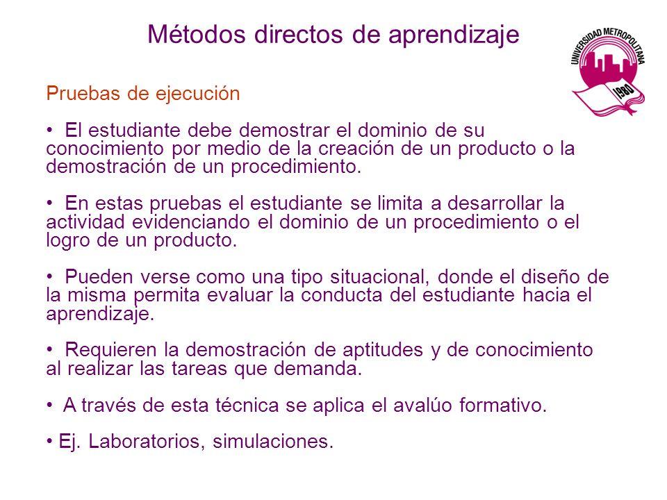 Métodos directos de aprendizaje Pruebas de ejecución El estudiante debe demostrar el dominio de su conocimiento por medio de la creación de un product