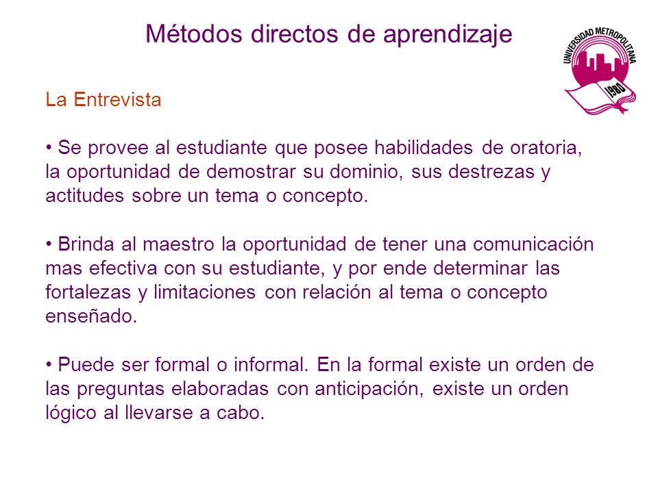 Métodos directos de aprendizaje La Entrevista Se provee al estudiante que posee habilidades de oratoria, la oportunidad de demostrar su dominio, sus d