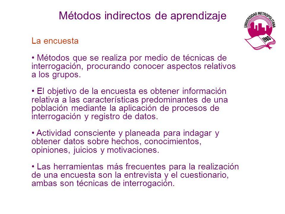 La encuesta Métodos que se realiza por medio de técnicas de interrogación, procurando conocer aspectos relativos a los grupos.