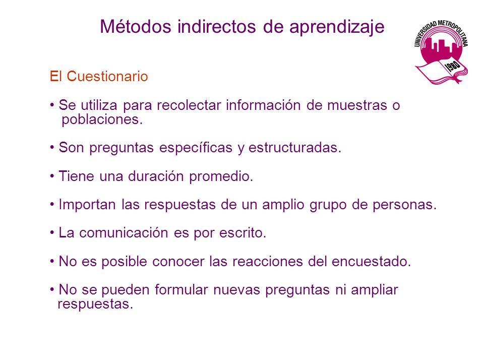 El Cuestionario Se utiliza para recolectar información de muestras o poblaciones. Son preguntas específicas y estructuradas. Tiene una duración promed