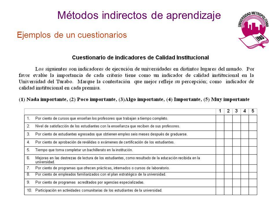 Ejemplos de un cuestionarios Métodos indirectos de aprendizaje