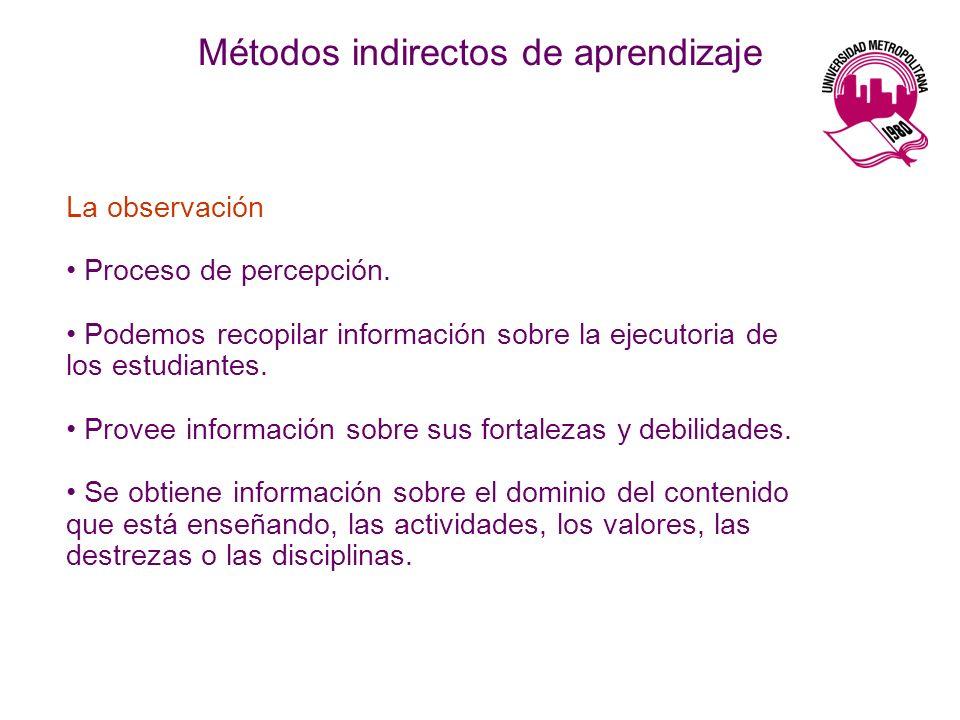 La observación Proceso de percepción. Podemos recopilar información sobre la ejecutoria de los estudiantes. Provee información sobre sus fortalezas y