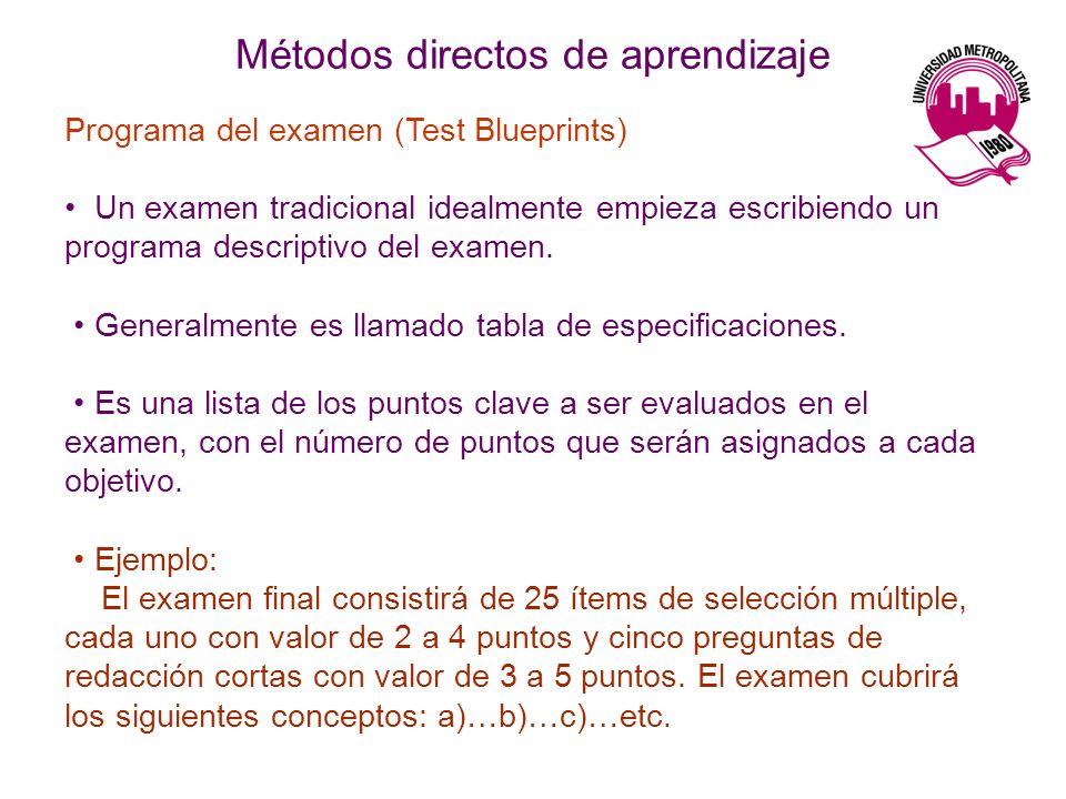 Métodos directos de aprendizaje Programa del examen (Test Blueprints) Un examen tradicional idealmente empieza escribiendo un programa descriptivo del examen.