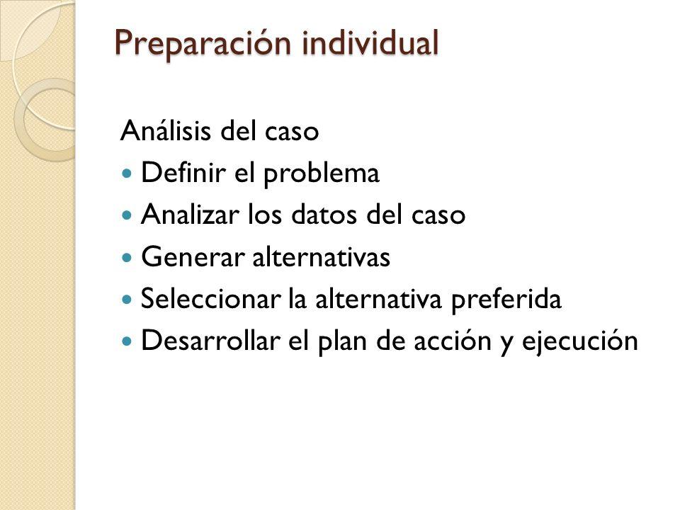 Preparación individual Análisis del caso Definir el problema Analizar los datos del caso Generar alternativas Seleccionar la alternativa preferida Desarrollar el plan de acción y ejecución