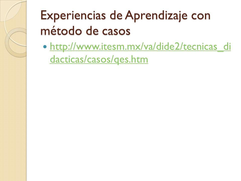 Experiencias de Aprendizaje con método de casos http://www.itesm.mx/va/dide2/tecnicas_di dacticas/casos/qes.htm http://www.itesm.mx/va/dide2/tecnicas_di dacticas/casos/qes.htm