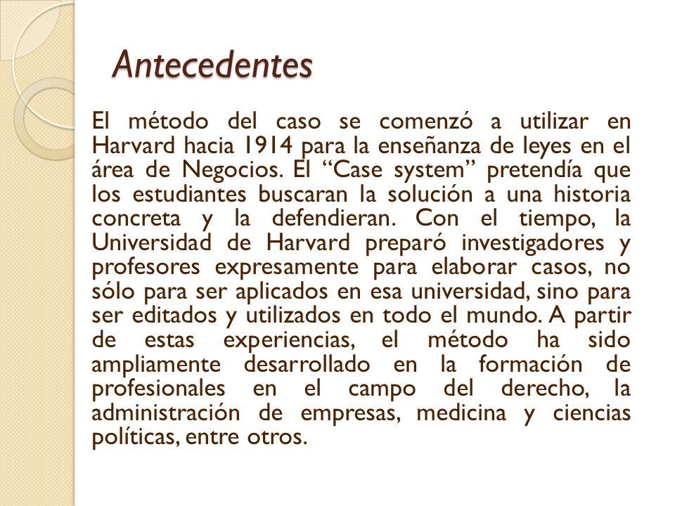 Antecedentes El método del caso se comenzó a utilizar en Harvard hacia 1914 para la enseñanza de leyes en el área de Negocios.