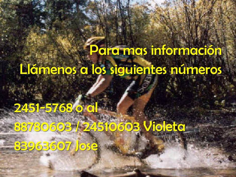 Para mas información Llámenos a los siguientes números 2451-5768 o al 88780603 / 24510603 Violeta 83963607 Jose