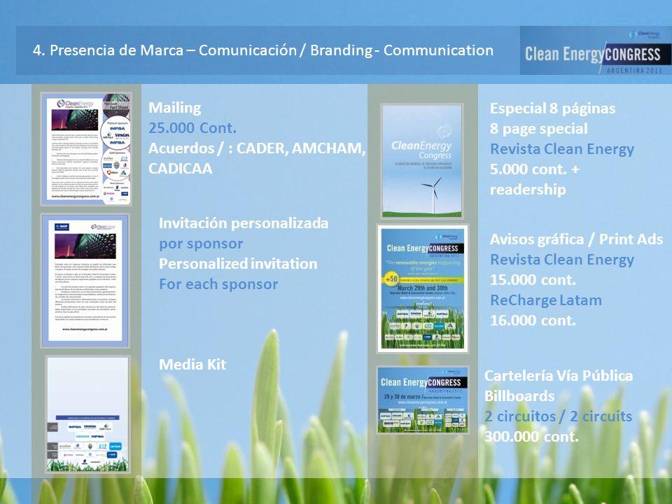 4. Presencia de Marca – Comunicación / Branding - Communication Mailing 25.000 Cont. Acuerdos / : CADER, AMCHAM, CADICAA Invitación personalizada por