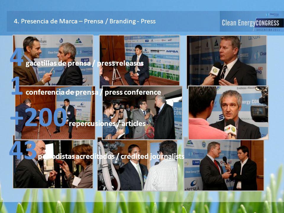 4. Presencia de Marca – Prensa / Branding - Press 4 gacetillas de prensa / press releases 1 conferencia de prensa / press conference +200 repercusione