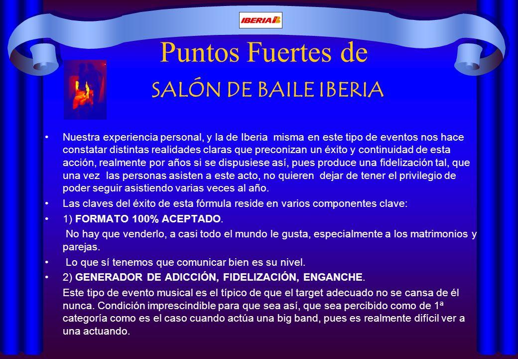 Puntos Fuertes de SALÓN DE BAILE IBERIA Nuestra experiencia personal, y la de Iberia misma en este tipo de eventos nos hace constatar distintas realid