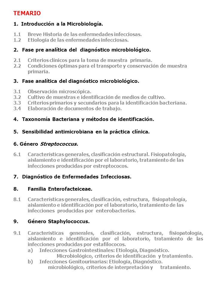 TEMARIO 1. Introducción a la Microbiología. 1.1Breve Historia de las enfermedades infecciosas. 1.2 Etiología de las enfermedades infecciosas. 2.Fase p