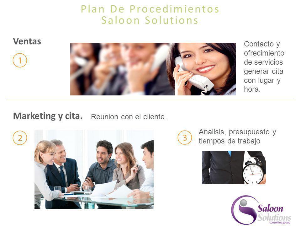 Plan De Procedimientos Saloon Solutions Ventas Marketing y cita. Analisis, presupuesto y tiempos de trabajo Contacto y ofrecimiento de servicios gener