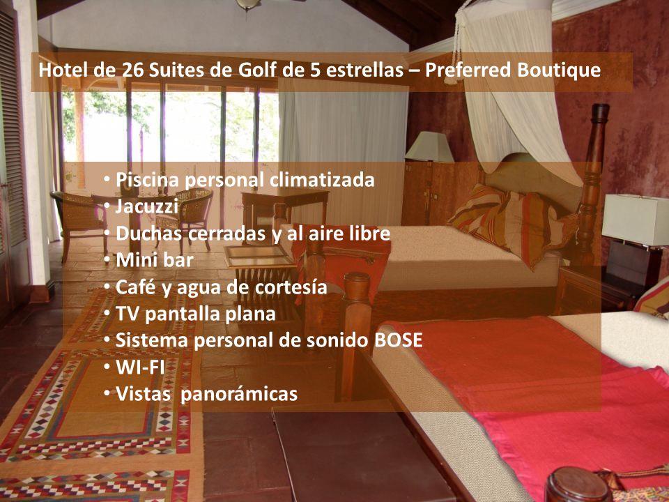 Hotel de 26 Suites de Golf de 5 estrellas – Preferred Boutique Piscina personal climatizada Jacuzzi Duchas cerradas y al aire libre Mini bar Café y ag