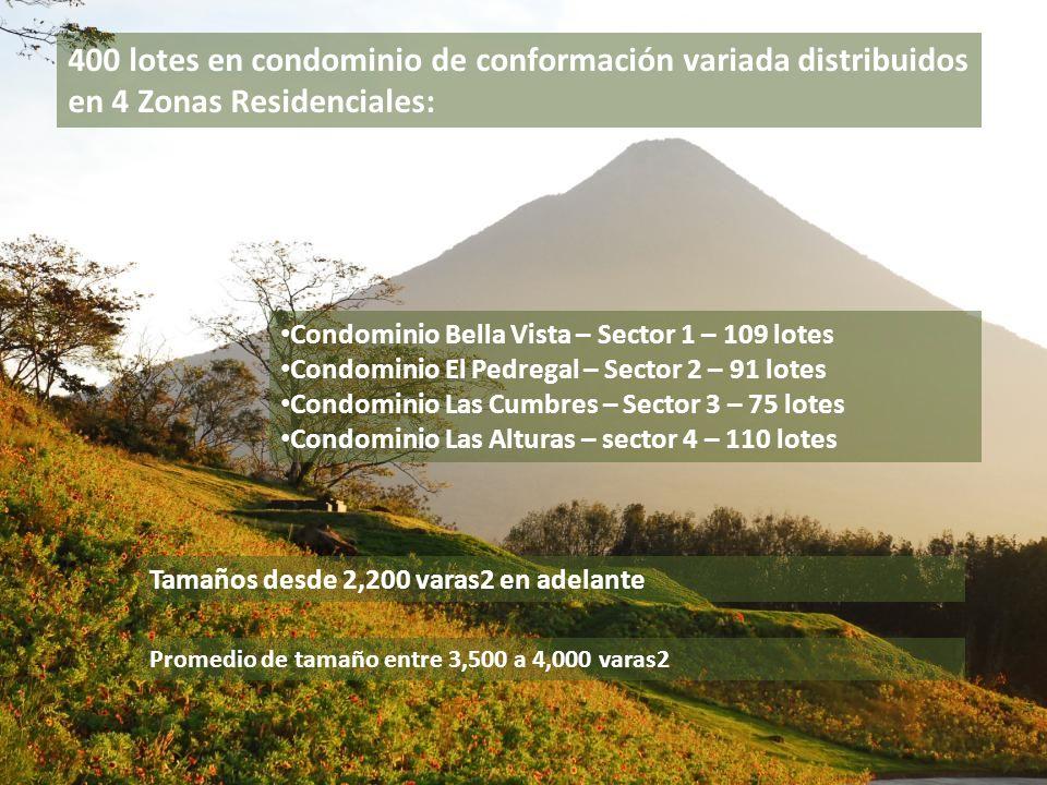 400 lotes en condominio de conformación variada distribuidos en 4 Zonas Residenciales: Condominio Bella Vista – Sector 1 – 109 lotes Condominio El Ped