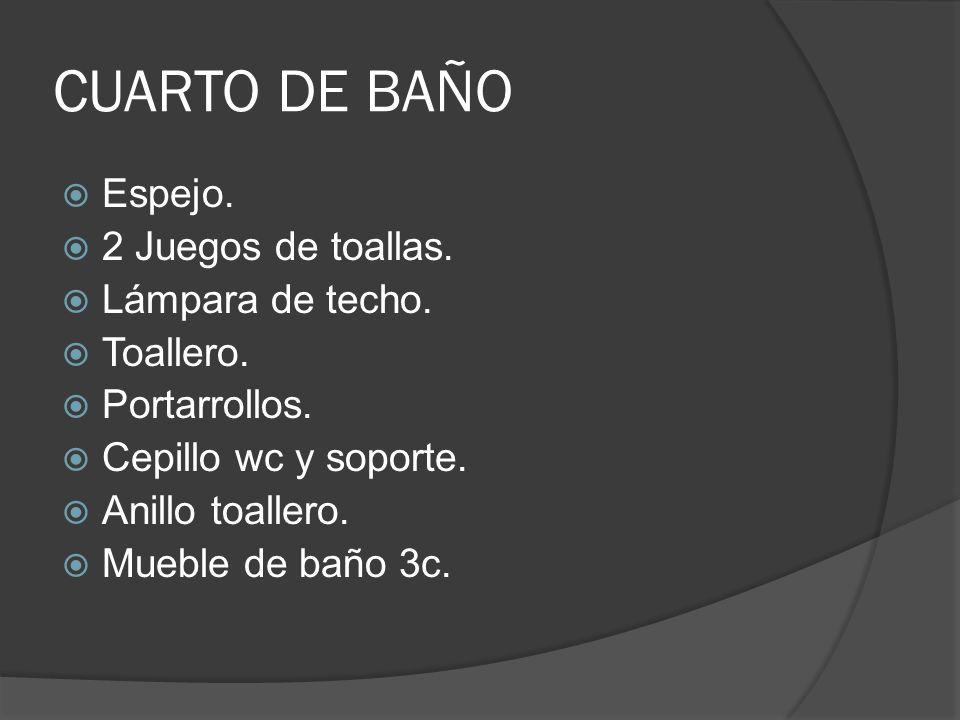CUARTO DE BAÑO Espejo.2 Juegos de toallas. Lámpara de techo.