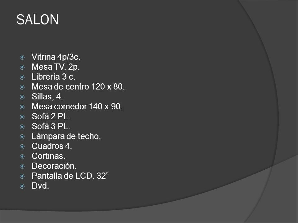 SALON Vitrina 4p/3c.Mesa TV. 2p. Librería 3 c. Mesa de centro 120 x 80.