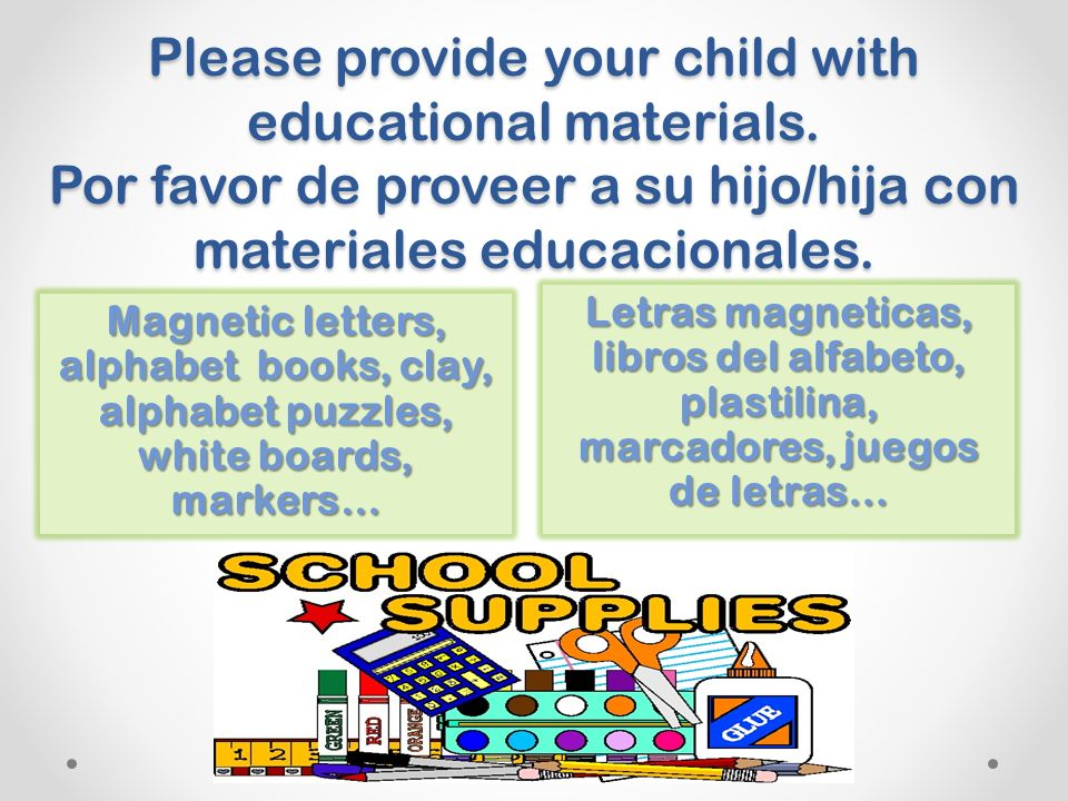 Please provide your child with educational materials.