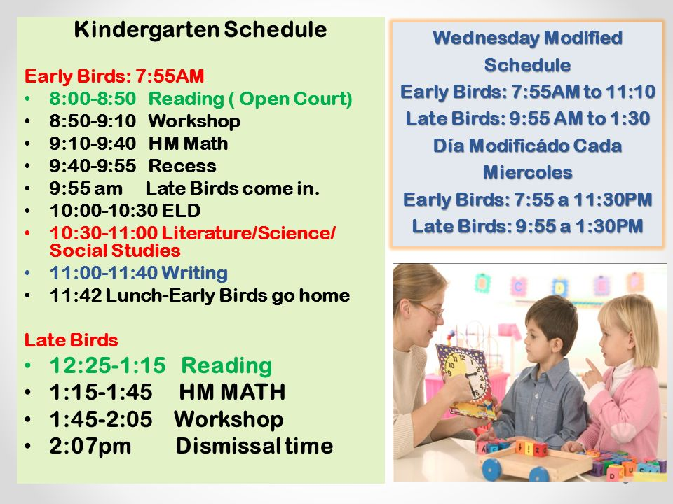 Kindergarten Schedule Early Birds: 7:55AM 8:00-8:50 Reading ( Open Court) 8:50-9:10 Workshop 9:10-9:40 HM Math 9:40-9:55 Recess 9:55 am Late Birds come in.